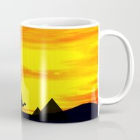 egyptian Mugs featuring Egyptian supermoon by Pirmin Nohr