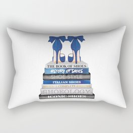 Navy, Books, Fashion books, Fashion, Fashion art, fashion poster, fashion wall art, Shoes Rectangular Pillow