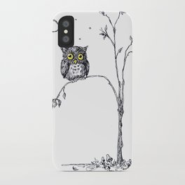 owl in the moonlight under the stars too big for his little tree iPhone Case
