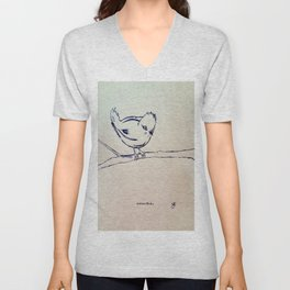 Curious Bird Ink Drawing Unisex V-Neck