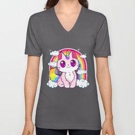 Cute Unicorn Cat Adorable Smiling Rainbow Kitty Unisex V-Neck