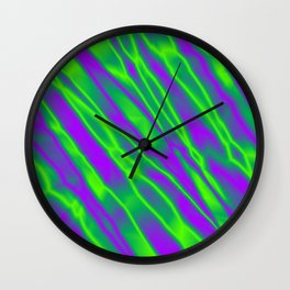 Shiny plaid metal with green intersecting diagonal lines. Wall Clock