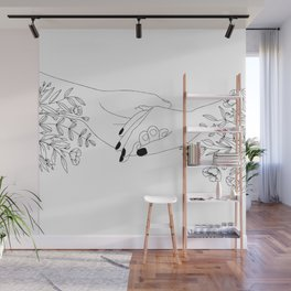 Holding Hands Minimal Floral Art in White Wall Mural