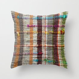 Shanna's Jam in Funky Woven Textured with Neon Teal Yellow Pink Throw Pillow