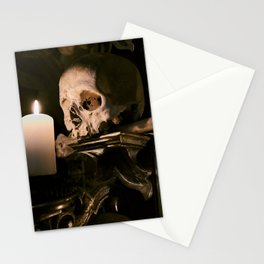 Sedlec Ossuary Skull Candle Photo Art, Skull Bone Church Stationery Cards