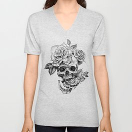 Black and White skull with roses pen drawing Unisex V-Neck