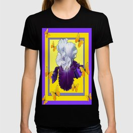 Golden Butterflies Purple-White Iris Art Design T-shirt