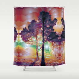 Lights And Tree Tether Facelift Shower Curtain