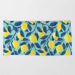 Vintage yellow lemon on the branches with leaves and blue sky hand drawn illustration pattern Beach Towel