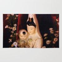 budi satria kwan Area & Throw Rugs featuring Quan Yin/ Kwan Yin by Bella Mahri-PhotoArt By Tina