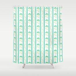 Folk Art Blue Floral Stripe - White Shower Curtain