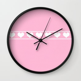 Polka Dots and Hearts Wall Clock
