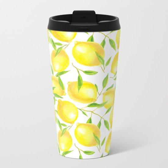 Lemons and leaves  pattern design Metal Travel Mug