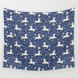 Floral Ponies (Dark Blue) Wall Tapestry