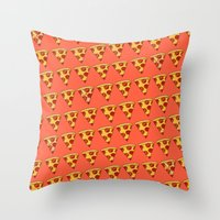 pizza Throw Pillows featuring PIZZA by Kaitlin Smith