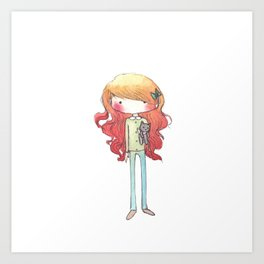 Little redhead with a kitten Art Print