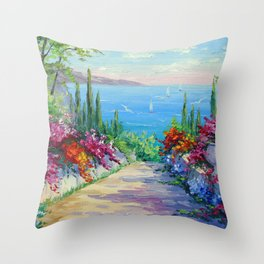 Sunny road to the sea Throw Pillow