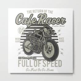 Caferacer Motorcycle Vintage Poster Metal Print