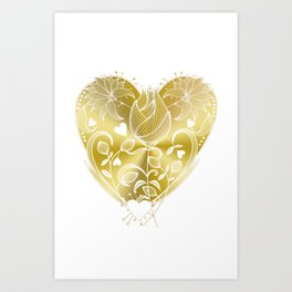 White Inked Floral Heart - Golds Art Print
