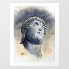 Constantine Bronze Head, watercolour Art Print