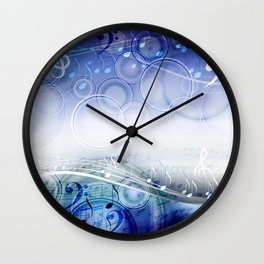 Abstract sheet music design background with musical notes Wall Clock