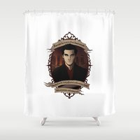 buffy Shower Curtains featuring Angel - Angel/Buffy the Vampire Slayer by muin+staers