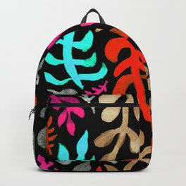 Matisse Inspired Watercolor Pattern (Aqua, Pink, Brown, Red, and Gray on Black Background) Backpack