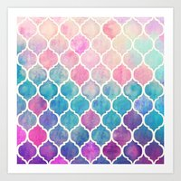 watercolour Art Prints featuring Rainbow Pastel Watercolor Moroccan Pattern by micklyn