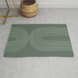 Hand drawn Geometric Lines in Forest Green 4 Rug