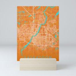 Saskatoon, SK, Canada, Gold, Blue, City, Map Mini Art Print