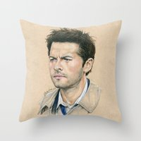 castiel Throw Pillows featuring Castiel by Stormwolf Studios