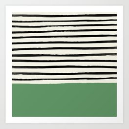 Moss Green x Stripes Art Print