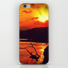 African River Sunset Leopard iPhone Skin