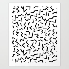 Maxie - black and white minimal modern abstract squiggle stripe dot lines geometric pattern urban  Art Print
