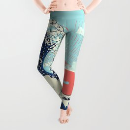 The Great Wave off Kanagawa stormy ocean with big waves Leggings
