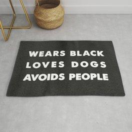 Wears black loves dogs avoids people Rug