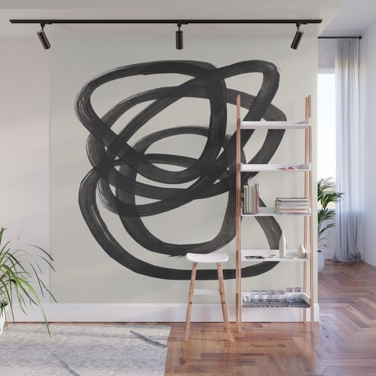 Mid Century Modern Minimalist Abstract Art Brush Strokes Black & White Ink Art Spiral Circles by enshape