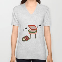 Coffee and Christmas Music Unisex V-Neck