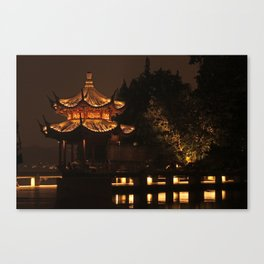 Chinese Pagoda on Lake Canvas Print