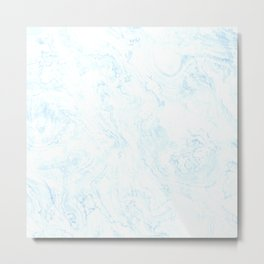 Soft baby blue wavy messy lines Metal Print