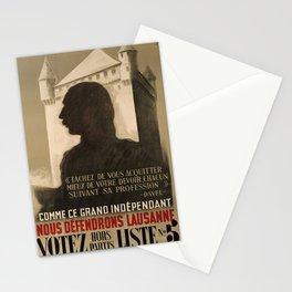 retro vintage comme ce grand independant nous defendrons lausanne votez hors partis liste poster Stationery Cards