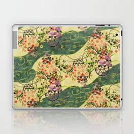Vintage green and gold oriental floral pattern Laptop & iPad Skin