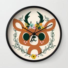 Deer with Flowers / Cute Animal Wall Clock
