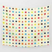 dot Wall Tapestries featuring Dot Triangle Square Plus Repeat by Picomodi