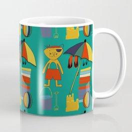 Cat pirate at the beach green Coffee Mug