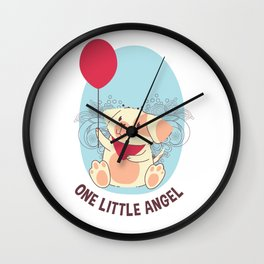 One Little Angel Smiling Dog and Balloon Wall Clock