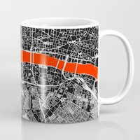 london map Mugs featuring London Map by Dizzy Moments