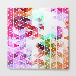 Pink Grungy Triangle Design Metal Print