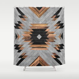 Urban Tribal Pattern No.6 - Aztec - Concrete and Wood Shower Curtain