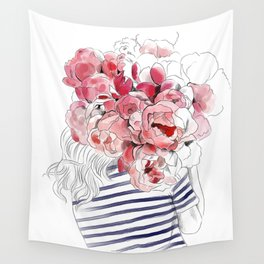 Back from the flower market - Peonies bouquet illustration Wall Tapestry